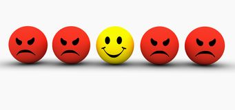 Emotions. Colorful smilies icons representing different emotions and expressions Stock Photography