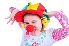 Emotions. Cute emotional kid in the clown cap Stock Photography