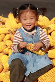 Emotions. Happy Chinese little girl countryside outdoors one person Royalty Free Stock Photos