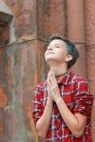 Emotions of adolescence. Prayer to god. Emotions of adolescence. Pray to God. Teen girl appeals to God through prayer royalty free stock image