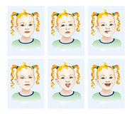 The emotions of anger, joy, resentment, sadness. stock illustration