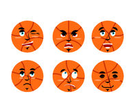 Emotions basketball ball. Set expressions avatar sports game. Go Royalty Free Stock Images