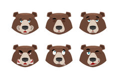Emotions bear. Set expressions avatar grizzly. Animal good and e Royalty Free Stock Photo