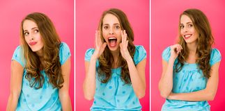 Emotions of a beautiful girl Royalty Free Stock Photography
