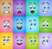 Emotions with blue eyes on colored background Stock Photo
