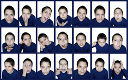 Emotions boy. Collage of twenty-one pictures. Emotions boy Stock Photos