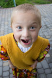 Emotions boy photo. Photo kind from above emotions boy who smiles Stock Images