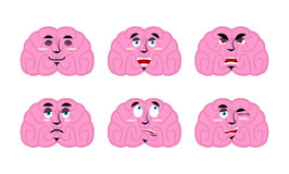 Emotions brain. Set emoji avatar brains. Good and evil mind. Dis Stock Photography