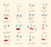 Emotions. Cartoon facial expressions Stock Photo