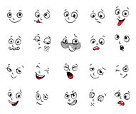 Emotions. Cartoon facial expressions set Stock Photography