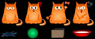 Emotions cat. Funny red cat, his different emotions and toysn Royalty Free Stock Image