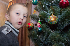 Emotions about Christmas tree Royalty Free Stock Images