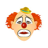 The emotions of a clown - longing, grief, sadness. Vector illustration of flat design. Clown with red hair, red nose and hat vector illustration