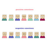 Emotions colored icons. line icons Royalty Free Stock Photo