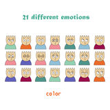 Emotions colored icons. line icons Stock Photo