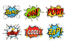 Emotions for comics speech like bang and cool Stock Photography