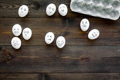 Emotions in communication at social media. Faces drawn on eggs. Happy, smile, sad, angry, in love, saticfied, laughing. Emotions in communication at social media Royalty Free Stock Photos
