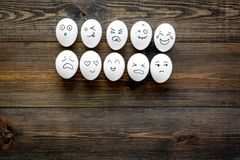 Emotions in communication at social media. Faces drawn on eggs. Happy, smile, sad, angry, in love, saticfied, laughing. Emotions in communication at social media Royalty Free Stock Images