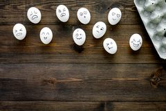Emotions in communication at social media. Faces drawn on eggs. Happy, smile, sad, angry, in love, saticfied, laughing. Emotions in communication at social media Royalty Free Stock Image