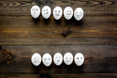 Emotions in communication at social media. Faces drawn on eggs. Happy, smile, sad, angry, in love, saticfied, laughing. Emotions in communication at social media Royalty Free Stock Photography