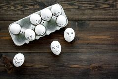 Emotions in communication at social media. Faces drawn on eggs. Happy, smile, sad, angry, in love, saticfied, laughing. Emotions in communication at social media Stock Images