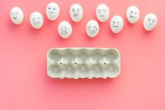 Emotions in communication at social media. Faces drawn on eggs. Happy, smile, sad, angry, in love, saticfied, laughing. Emotions in communication at social media Royalty Free Stock Photo