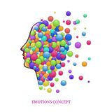 Emotions concept, fulling heads with colored rounds, inner happiness, Stock Photo