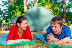 Emotions couple on vacation in the camping Royalty Free Stock Images