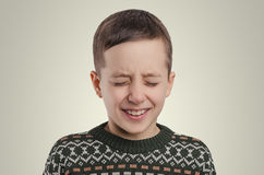 Emotions. The crying boy portrait. royalty free stock image
