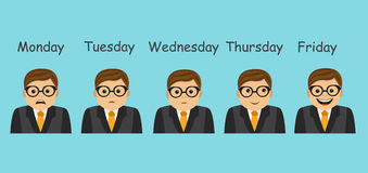 Emotions and days of the week. Businessman and different emotions change and depend on the day of the week Stock Photo