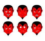 Emotions devil. Set expressions avatar Satan. Red Demon good. Lu Stock Photography