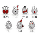 Emotions on different days of the week Stock Photo