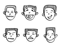 Emotions doodle. Head of a man with a hand-drawn emotions, doodle illustration Stock Image