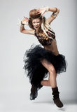 Emotions. Expressive woman dancing. Theatre Royalty Free Stock Image