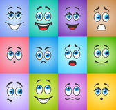 Emotions with eyes on colored background Stock Images
