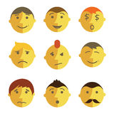 Emotions faces. Emotions face collection, flat design Royalty Free Stock Photo