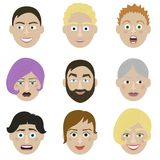 Emotions faces characters. Vector Illustration trendy flat design for web and printed materials Stock Image