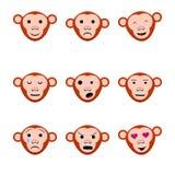 Emotions faces monkeys nine set icons Stock Photography