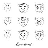 Emotions. Fantasy cartoon, doodle hand drawing monsters Stock Image