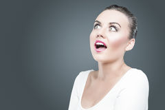 Emotions and Feelings Concept. Portrait of Young Surprised Brunette Royalty Free Stock Photos