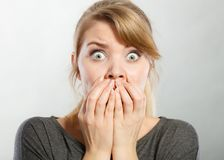 Nervous lady expressing fear. Emotions feelings psychology adrenaline concept. Nervous lady expressing fear. Young scared girl intimidated feeling endangered Royalty Free Stock Photos