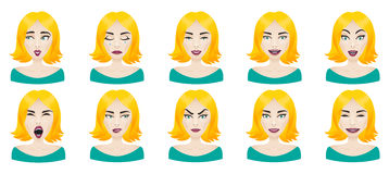 Emotions female face set Stock Photos