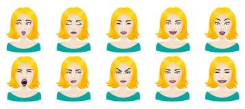 Emotions female face set Stock Photos