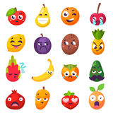 Emotions fruit characters isolated vector Stock Photos