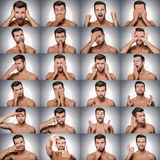 Emotions and gestures. Collage of young shitless man expressing diverse emotions and gesturing while standing against grey background Stock Photography