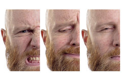 Emotions half faces. Three half faces with different emotions; angry, sad, evil Stock Images