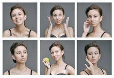 Emotions of healthy young white girl Stock Images