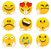 Emotions. Isolated vector illustration on white background. Set of Emoticons royalty free illustration