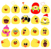 Emotions. A large set of emotions chicken. Cartoon characters. V Stock Images