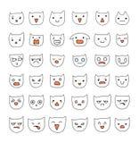 Emotions large set 36 pieces . Cat Smile. Emoji  cats. Stock Image